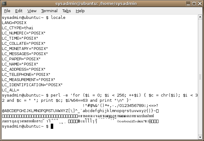 Gnome-terminal with LC CTYPE=thai
