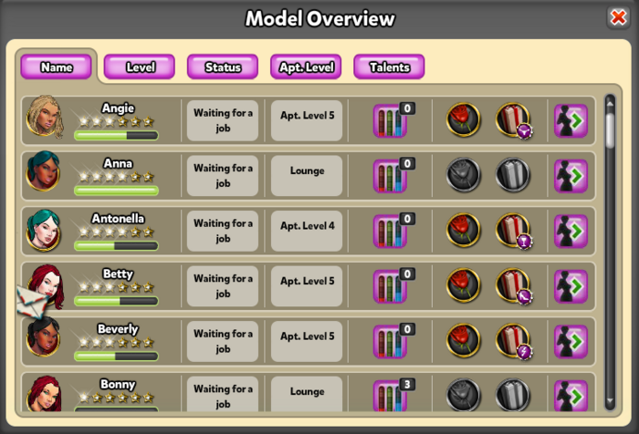Model overview mail icon
