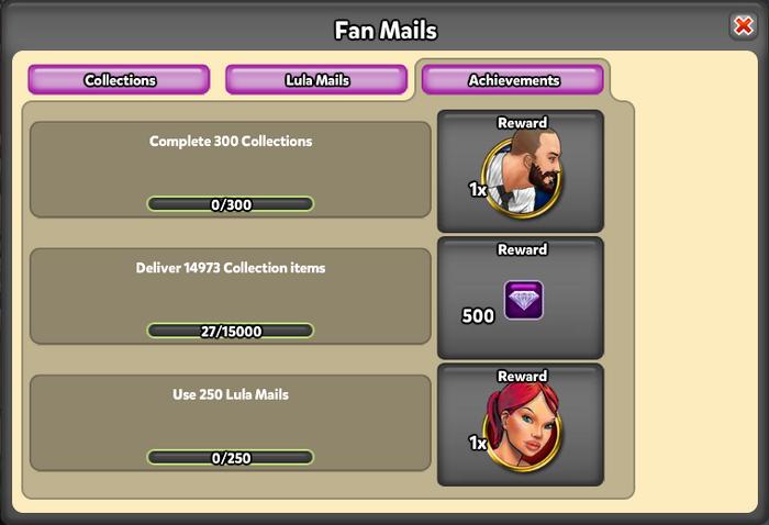 Fanmail pop up - Achievements