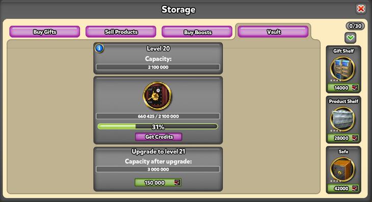 Storage Vault tab