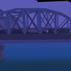 The bridge, raised, at night time.