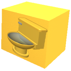 A boxed Golden Toilet, an item that comes from The Golden Gift Of Golden Times when unboxed.