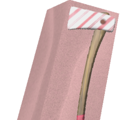 A boxed Candy Cane Axe, an item that comes from the Sweet Gift when unboxed.