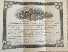 Leslie and Violet Johnson marriage certificate