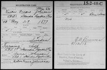 WWI Draft - Victor Johnson