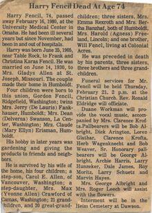Harry Fencil Obituary