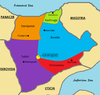 Antalorgia (districts colored named with capitals)