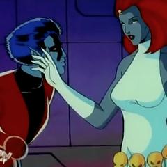 Nightcrawler i jego matka z kreskówki o X-men z roku 1992