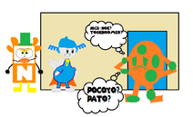 4George confused about Nick-Noe, TogeBoomer, Pocoyo and Pato at his house.
