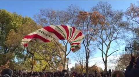 Candy Cane Balloon Goes Down at Macy's Thanksgiving Day Parade
