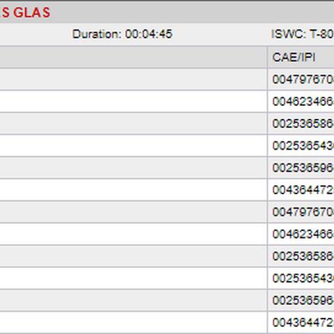 Schwarzes Glas в базе данных GEMA