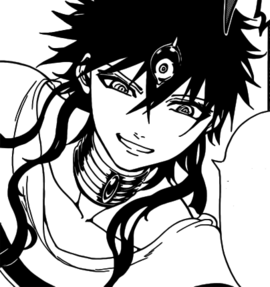 Judar's face with loose hair