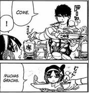 Masrur le ofrece comida a Morgiana