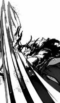 Kokuton desgarrando a un Djinn negro