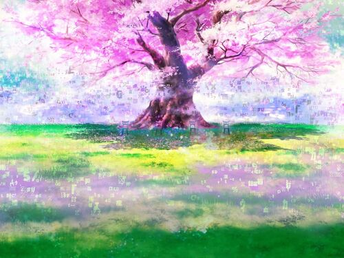 Tracks of Cherry Blossom Background