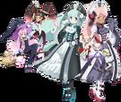 Gen'ei o Kakeru Taiyou Etia, Ariel, Priscilla, Meltina, Itsuki, Mutsumi and Nanase pose