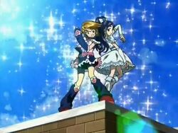 Futari wa Pretty Cure Cure Black and White in the Opening