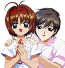 Card Captor Sakura Sakura and Yukito pose