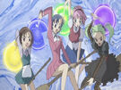 Sasami Mahou Shoujo Club Misao, Makoto, Tsukasa and Anri using their magic5