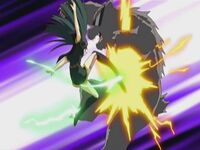 Yume Note Shinra using her Valkyrie Boots attack