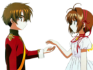 Card Captor Sakura Sakura and Syaoran pose