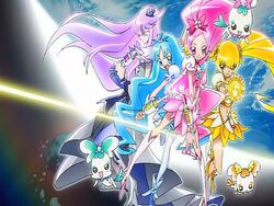 Heartcatch Pretty Cure! Cure Blossom, Marine, Sunshine and Moonlight in the opening