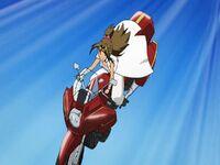 Mahou no Yankii Liberty Maji on her motorbike