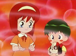 Hana no Mahou Tsukai Mary Bell Yuuri, Ken and Ribbon receiving the Magical Perfume