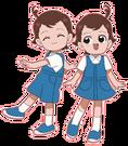 Cosmic Baton Girl Comet-san Tsuyoshi and Nene pose