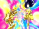 Futari wa Pretty Cure Max Heart Golden Cure Black and White in the Extreme Luminario attack