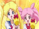 Sailor Moon Crystal Usagi and Chibiusa with Sailor V dolls