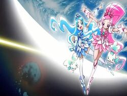 Heartcatch Pretty Cure! Cure Blossom and Cure Marine in the opening