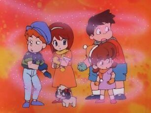 Hana no Mahou Tsukai Mary Bell Yuuri, Vivian, Tap, Bongo and Ribbon receiving the Magical Perfume