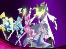 Heartcatch Pretty Cure! Cure Blossom, Marine, Sunshine and Moonlight finishing the Floral Power Fortissimo attack