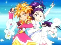 Futari wa Pretty Cure Splash Star Cure Bloom and Cure Egret in the Opening