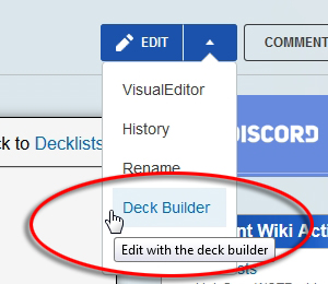 Editing Decks Deck Builder