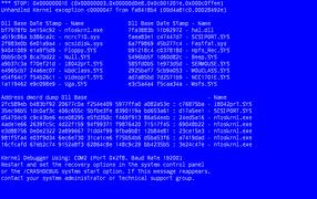 Синий экран смерти пример