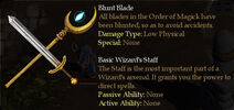 Magicka Blunt Blade and Basic Wizard's Staff