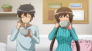 Nozomu and Shiori eating noodles together