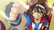 Yukimura raising his fist in the air