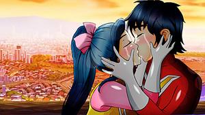 Kenichi and Megumi kissing