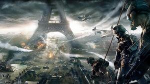 Battle near the Eiffel Tower