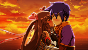 Tatsurou and Yukikaze kiss in the sunset