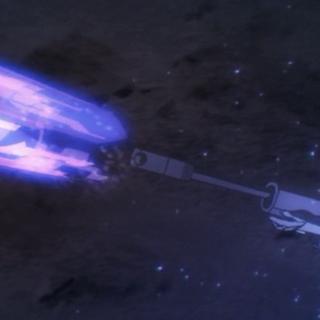 Tatsuya disparando la bala que más tarde utilizaría cómo material para Material Burst