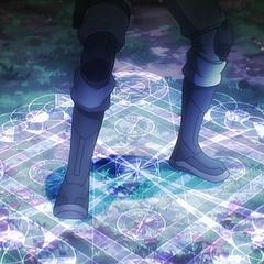Tatsuya usa una magia desconocida para luchar contra su adversario durante un combate de Monolith Code