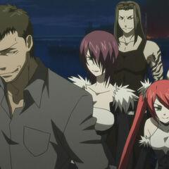 Shakadou and the Itagaki siblings, including Tatsuko (Anime)