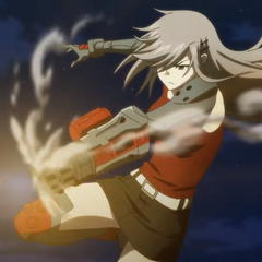 Takae firing her ammunition before reloading.