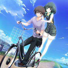 Sayaka and Yamato riding a bike together (Majikoi A-1)