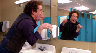 Mr stark doing thing in bathroom mirror wtr