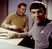 Kirk and Spock laughing